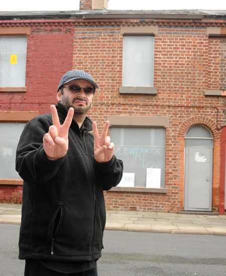 Ringo Starr outside his childhood home at 9 Madryn Street